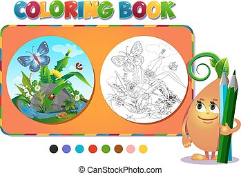 Coloring book insects in the forest glade