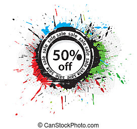 50% discount banner, shopping concept grunge vector...