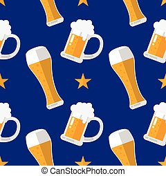 Glass of beer flat seamless pattern Vector Illustration