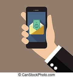 Hand holding smartphone with banknote in envelope