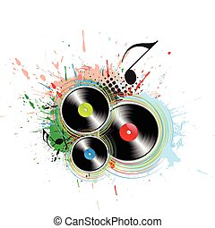 music concept - abstract grunge with music note background,...