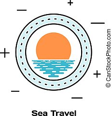 Porthole ship and sunset on the water. Schematic illuminator. Line style art. Stock vector