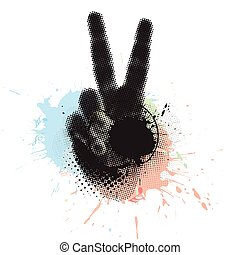victory hand sign - abstract grunge victory hand sign vector...