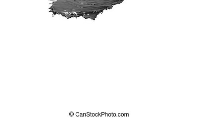 black liquid pouring on white background - close-up view of...