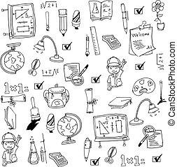 Vector art collection school doodles