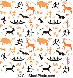 Cave drawings theme - Seamless Pattern with Cave drawings...