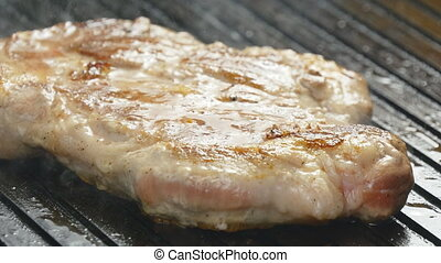 Pork chop grilled and fragrant smoke - Pork chop grilled...
