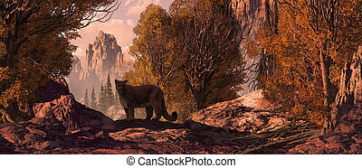Cougar in a Rocky Mountain landscape. Original illustrative...