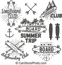 Vector set of longboard skateboard emblems, labels, badges...