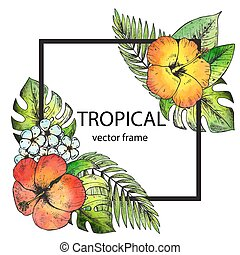 Vector frame with hand drawn tropical flowers and plants