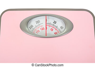 Pink Weighing Scales Isolated - Weighing scales high key,...