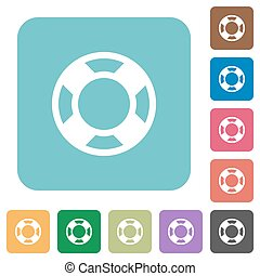 Flat lifesaver icons on rounded square color backgrounds.