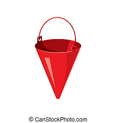 Red fire bucket icon, cartoon style - icon in cartoon style...
