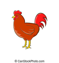 Chicken icon, cartoon style - Chicken icon in cartoon style...