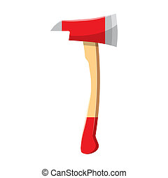 Red axe icon in cartoon style on a white background