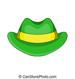 Green hat icon, cartoon style - Green hat icon in cartoon...