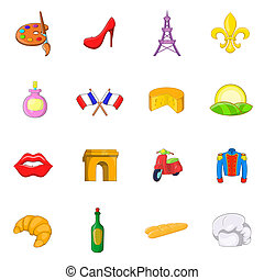 France icons set, cartoon style - France icons set in...