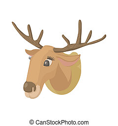 Deer head icon, cartoon style - Deer head icon in cartoon...
