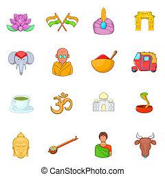 India icons set, cartoon style - India icons set cartoon...