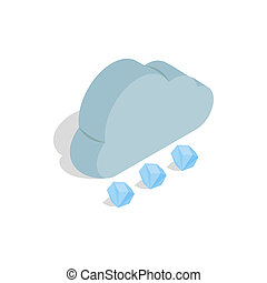 Cloud and hail icon, isometric 3d style - icon in isometric...