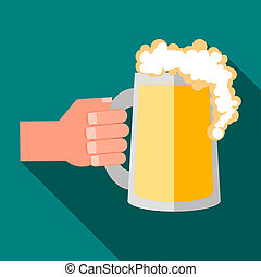 Hand holding mug of beer icon, flat style - icon in flat...