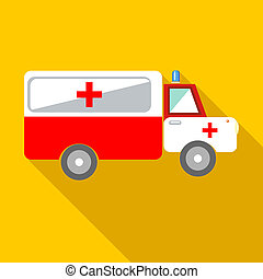 Ambulance car icon, flat style - Ambulance car icon in flat...