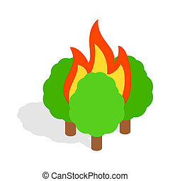 Burning trees icon, isometric 3d style - icon in isometric...