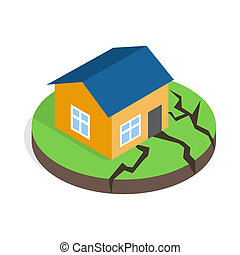 House after an earthquake icon, isometric 3d style - icon in...