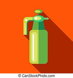 plano, estilo, jardín, presión, rociador, botella, icono