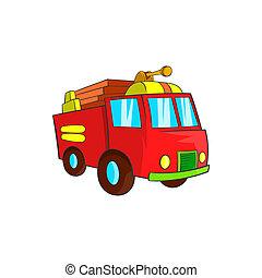 Fire truck icon, cartoon style - Fire truck icon in cartoon...