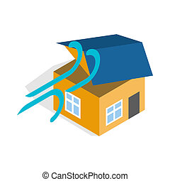 Hurricane destroyed house icon - icon in isometric 3d style...