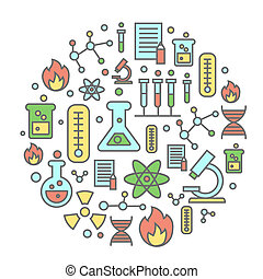 Chemistry flat concept with lab research equipment and scientist