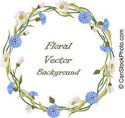 Wreath frame with wild flowers - Wreath frame with blue...