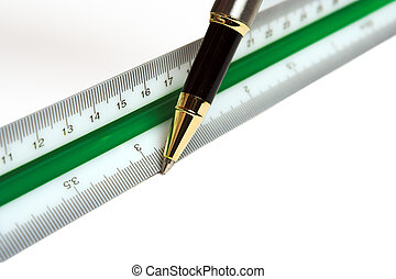 Ruler and pen - Drawing pen and ruler, used by architects...