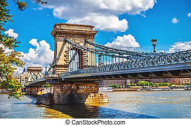 Chain bridge in budapest - Chain bridge on danube river in...