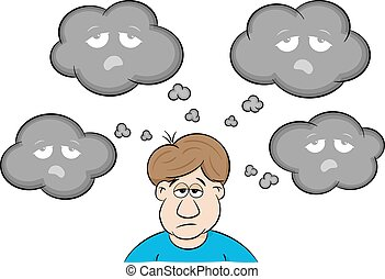 man with depressive thoughts - vector illustration of a man...
