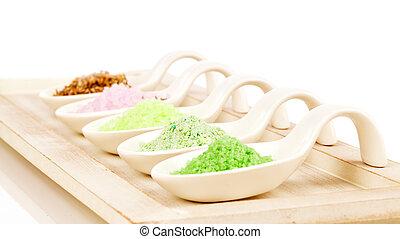 Various types of spa sea salt