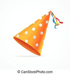 Party Hat. Vector - Orange Party Hat with White Dots...