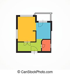 Architect Colorful Floor Plan Vector - Architect Colorful...