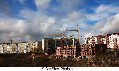 construction crane and the building