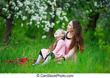 with baby girl - mom with baby in nature