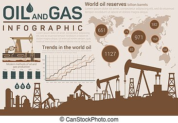 Oil and gas template for infographic with dark silhouettes...