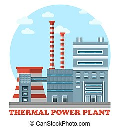 Thermal power station. Industrial power plant for heating energy to convert it to electricity using coal. Side view of cooling tower and chimney that polluting air with smoke or smog