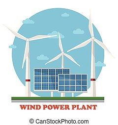 Wind and solar power plants with wind turbines and squares facing sun to maximize energy and electricity gain. Concept of clean and renewable, sustainable energy, caring for ecology