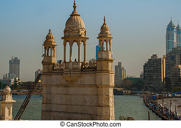 Mosque Haji Ali. Mumbai, India. - Mosque in middle of the...