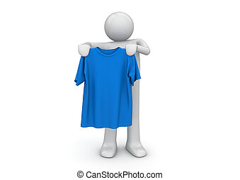 T-shirt in hands - Lifestyle collection - 3d characters...