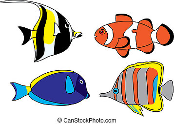 Tropical fish set - Set of four colored tropical fish
