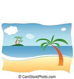 Beach - Sunny sand beach with palm