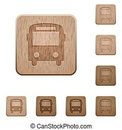 Bus wooden buttons - Set of carved wooden bus buttons in 8...