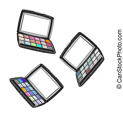 collection of eye shadow face on white